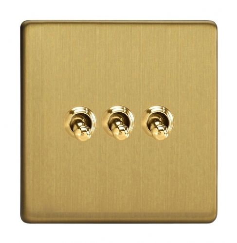Varilight XDBT3S Screwless Brushed Brass 3 Gang 10A 1 or 2 Way Toggle Light Switch